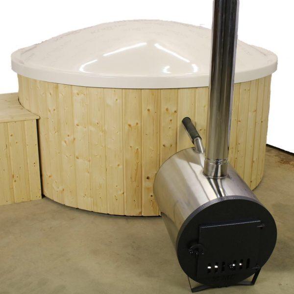 Badestamp med ekstern ovn